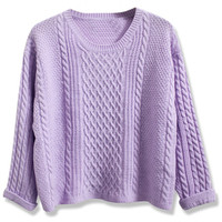 ROMWE | ROMWE Twisted Folded Cuffs Purple Jumper, The Latest Street Fashion