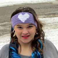 Valentine's Day Heart Headband, Adjustable Ear Warmers, Buttoned Headband, Crochet, Winter Accessories