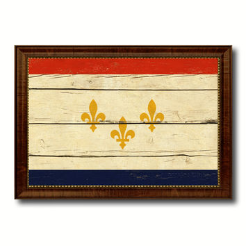 New Orleans  City Louisiana State Vintage Flag Canvas Print Brown Picture Frame