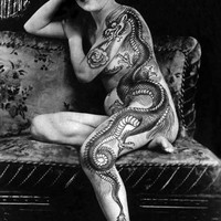 Serpent Dragon Asian Style Tattoo Photograph Reprint. Black and White Giclee Print in 5x7.