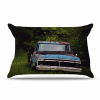 "Angie Turner ""Old Ford Truck"" Blue Digital Pillow Case"