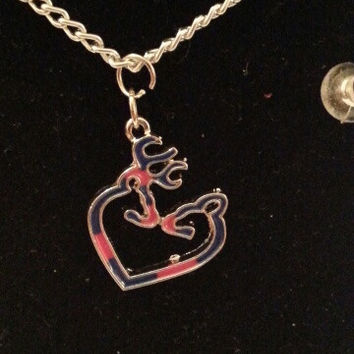 Blue / pink browning buck and doe kissing heart style necklace, earrings, key ring, set jewelry