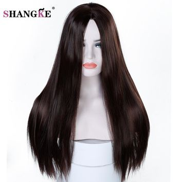 SHANGKE 22'' Long Straight  Wig Women Hairstyles Heat Resistant Synthetic Wigs For  Women African American Hairpieces