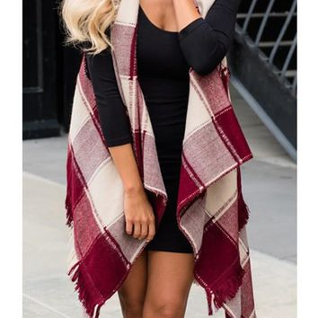 Red Plaid Print Tassel Irregular Waterfall Low-High Turndown Collar Casual Vest Coat