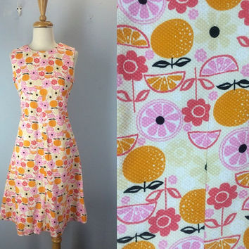 Vintage 60s Dress, Vintage 1960s Dress, Fruit Dress, Summer Dress, Simple Sleeveless Dress, Mod Dress, Gidget, Abstract Dress