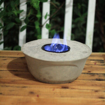 Rustic Concrete Fire Bowl Fire Pot Hand Poured Tabletop Design Outdoor Garden Patio Decor Industrial Primitive Minimalist