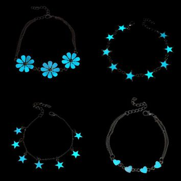 2017 New Fluorescent Luminous Flower Star Heart Charm Bracelets For Women Lover Bangles Party Fashion Glow In Dark Jewelry Gift