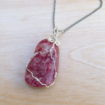 Dark Pink Crackle Quartz Pendant, Quartz Necklace, Rock Pendant, Wire Wrapped Stone, Gemstone Necklace, Boho Jewelry, Sterling Silver Filled