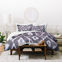 Natalie Baca Painterly Ikat in Black Duvet Cover