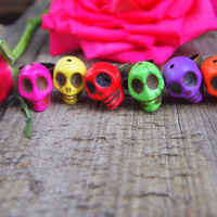 Colorful Sugar Skull Ring Adjustable-Choose Your Color