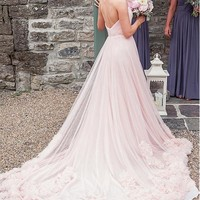 [522.48] Marvelous Tulle Sweetheart Neckline A-Line Wedding Dresses With Beadings & Rhinestones - dressilyme.com