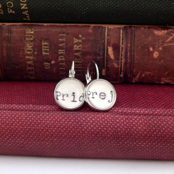 Pride and Prejudice earrings, Jane Austen earrings, book jewellery, gift for readers, gifts for women, book lovers jewelry, stocking stuffer