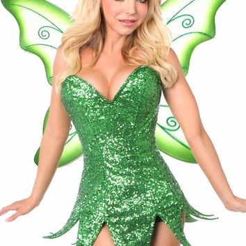 Daisy Corsets Female Green Sequin Fairy Corset Dress Costume TD-934