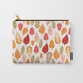 Painted Autumn Leaves Pattern Carry-All Pouch by Tanyadraws