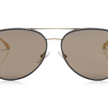 Jimmy Choo - Reto Black Gold Copper Aviator with Micro Studs Detailing Sunglasses