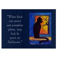 Halloween Black Cat and Owl at Night Cutting Board