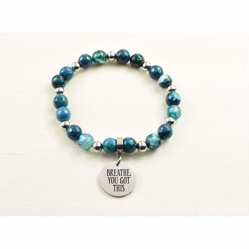 Genuine Agate Inspirational Bracelet - Navy - Breathe You Got This