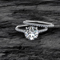 Moissanite Engagement Ring 14k Solid White Gold Round Solitaire Diamond Wedding Ring Forever
