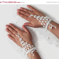ON SALE White crochet beaded slave bracelet, Bridal ring bracelet, Beaded Harem bracelet, crochet wristlet,fingerless glover, Bohemian jewel