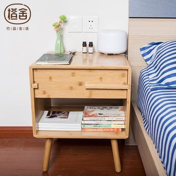 ZEN'S BAMBOO Bedside Storage Drawer Cabinet Simple Design Night Table Cabinet Bedroom/Livingroom Furniture