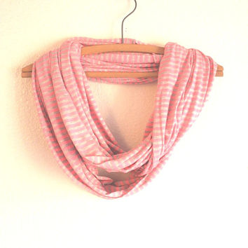 Pink Scarf - Striped Infinity Scarves - Pink and Grey stripe scarf - Scarves for her