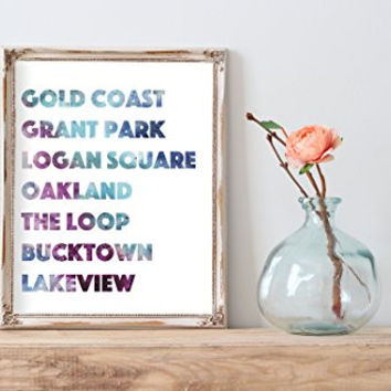 Watercolor Chicago hot spots typographyHome Print | 8 x 10 | Wall Decor