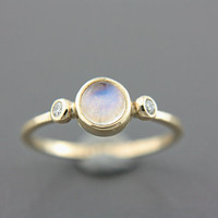 Rainbow Moonstone and Diamond Ring 14k Yellow Gold Natural Moonstone Diamond Gold Ring Size 5,5-6 Rainbow Moonstone Engagement Ring