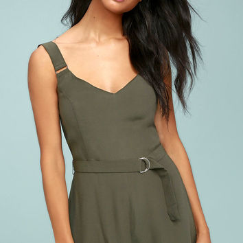 Sunny Melody Olive Green Romper