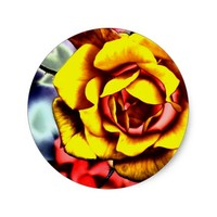 Colorful Artistic Yellow Rose Classic Round Sticker