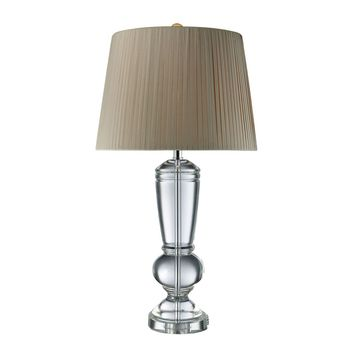 Castlebridge Table Lamp In Clear Crystal With Light Grey Shade Clear Crystal