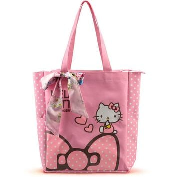 Women Casual Tote Designer Lady Large Cute Hello Kitty Handbags Bolsas Multi-purpose Shopping Bag Kids Lunch Bags with Bowknot