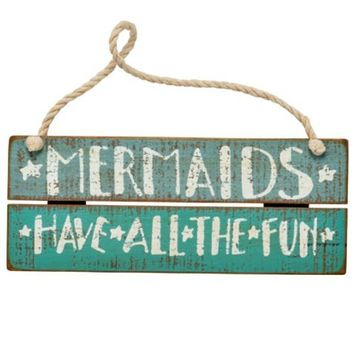 Mermaid Fun Artisan Wooden Slat Sign