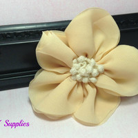 Cream chiffon flower - fabric flowers - wholesale flowers - hair bow supplies - diy supplies - headband flowers - flowers for headband