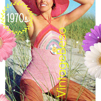 DIGITAL Pattern • Rainbow Sun Maillot CROCHET PAtTERN • Halter Top One Piece Swimsuit • PdF Pattern • Sexy Leotard Bathing • Vintage 1970s