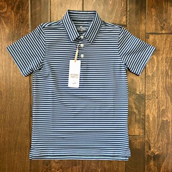 Southern Point Co - Navy Striped Performance Polo