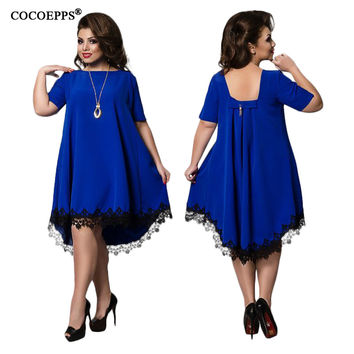 COCOEPPS 2017 6XL Big Size Women Lace Dresses Elegant Plus Large Size Dress Women Eveing Party robe short sleeve clothes 4XL 5XL