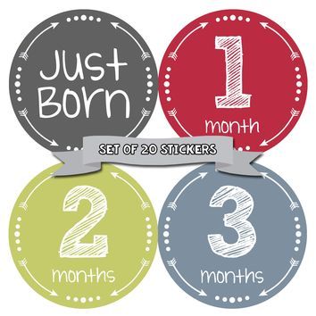 Baby Boy Monthly Baby Stickers - Deluxe Set of 20
