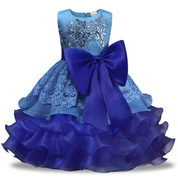 2018 children of the new design Christmas Wedding Flower Girl Dress princess dress wear sleeveless clothes