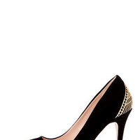 Mixx Shuz Eliza Black Kid Suede Gold Cage Pointed Pumps