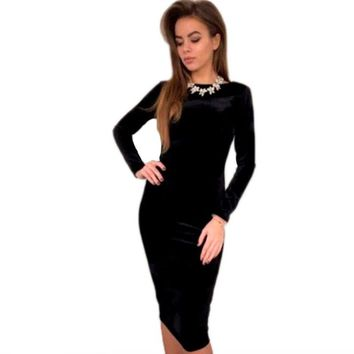 Hot fashion Womens sexy autumn clothes Long Sleeve Velvet Stretch dress solid ladies bodycon pencil Evening Party clubwear dress