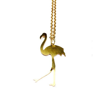 Brass Flamingo Necklace - Flamingo Jewelry, Brass Jewellery, Golden Necklace, Bird