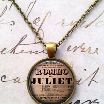 Romeo and Juliet Necklace, Shakespeare, Vintage Pendant, Love Necklace, Valentine's Day, Steampunk T621