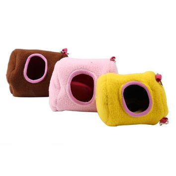 Cute Small Animal pet Rabbit Hamster house bed rat squirrel  winter warm hanging House cage Nest Hamster accessory S L
