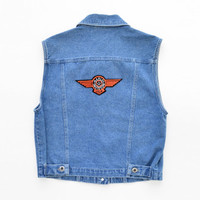 Vintage 90s Harley Davidson Patch Sleeveless Denim Blue Jean Vest Jacket Motorcycle Rider Size Womens Small