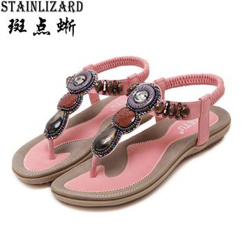 Free Shipping 2017 Women Sandals Bohemia Beads Summer Sandals Fashion Flat Women Shoes