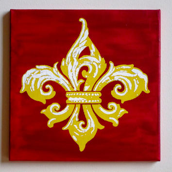 "Fleur de Lis Painting, Red, Yellow, & White Acrylic on Canvas 12""x12"" Original Wall Art Decor New Orleans Saints Kappa Gamma Christmas Gift"