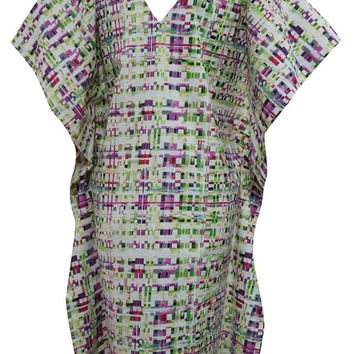 Women's Kaftans Dress Caftan Multicolored Ikat Printed V-neck Coverup S