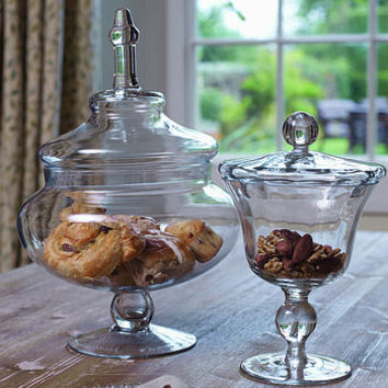 Small & Large Glass Footed Bon Bon Jars