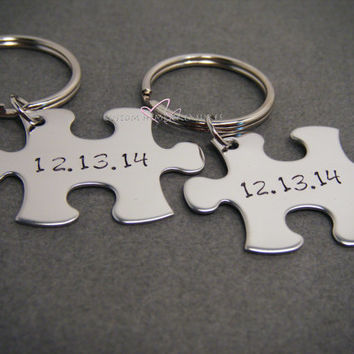 Couples Date Keychains for Anniversaries or Weddings
