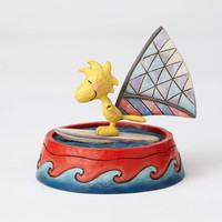 Jim Shore Peanuts Woodstock Windsurfing in Dog Bowl Resin Figurine New with Box